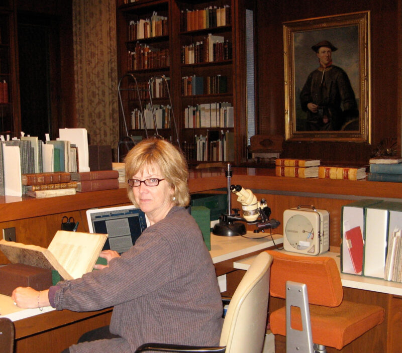 Karen Beil doing research at Hunt Library