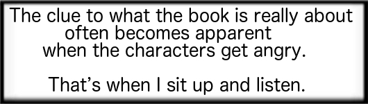 The clue to what the book is really about often becomes apparent when the characters get angry. That's when I sit up and listen.